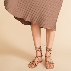 Zara low heeled snake print slide sandals
